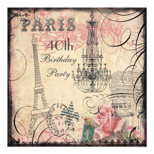 Chic Eiffel Tower & Chandelier 40th Birthday Custom Invitations