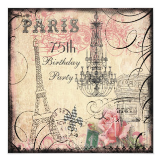 Chic Eiffel Tower & Chandelier 75th Birthday Card
