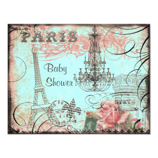 Chic Eiffel Tower & Chandelier Baby Shower 4.25x5.5 Paper Invitation Card