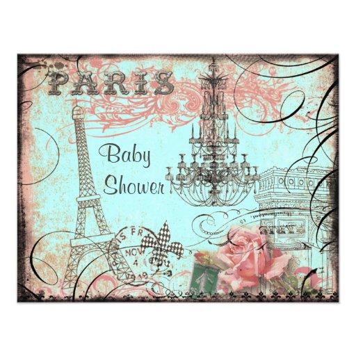 Chic Eiffel Tower & Chandelier Baby Shower Personalized Invitation