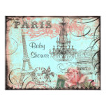 Chic Eiffel Tower & Chandelier Baby Shower Personalized Invitation