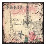 Chic Eiffel Tower & Chandelier Baby Shower Custom Invites