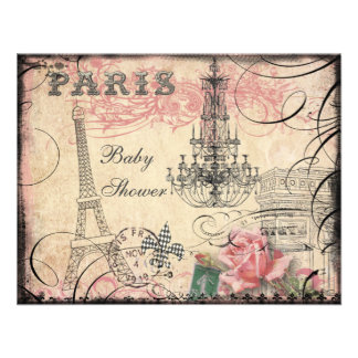 Chic Eiffel Tower Chandelier Baby Shower Announcements