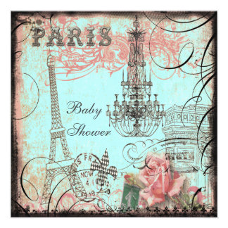Chic Eiffel Tower Chandelier Baby Shower Custom Invitations