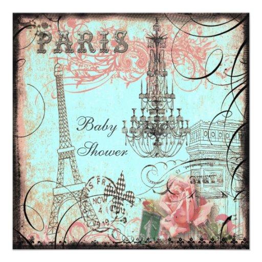Chic Eiffel Tower & Chandelier Baby Shower Custom Invitations
