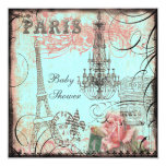 Chic Eiffel Tower & Chandelier Baby Shower 5.25x5.25 Square Paper Invitation Card