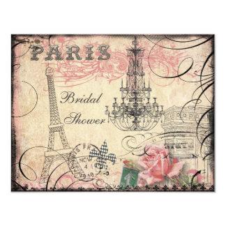 Chic Eiffel Tower & Chandelier Bridal Shower 4.25x5.5 Paper Invitation Card