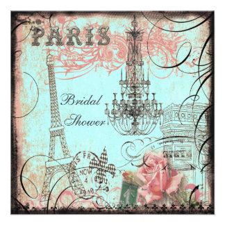 Chic Eiffel Tower Chandelier Bridal Shower Invite
