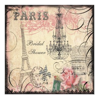 Chic Eiffel Tower & Chandelier Bridal Shower 5.25x5.25 Square Paper Invitation Card