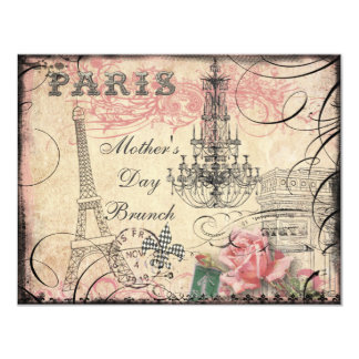 Chic Eiffel Tower & Chandelier Mother's Day Brunch 4.25x5.5 Paper Invitation Card