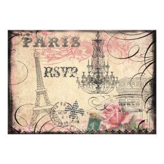 Chic Eiffel Tower Chandelier RSVP Invitations