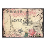 Chic Eiffel Tower & Chandelier RSVP 3.5x5 Paper Invitation Card