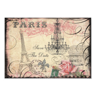 Chic Eiffel Tower & Chandelier Save The Date 3.5x5 Paper Invitation Card