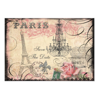 Chic Eiffel Tower Chandelier Save The Date Personalized Announcement