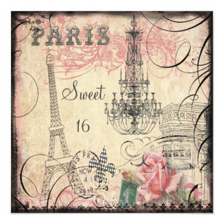 Chic Eiffel Tower & Chandelier Sweet 16 Card