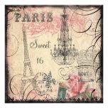 Chic Eiffel Tower & Chandelier Sweet 16 Invitation