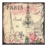 Chic Eiffel Tower & Chandelier Sweet 16 5.25x5.25 Square Paper Invitation Card