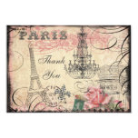 Chic Eiffel Tower & Chandelier Thank You 3.5x5 Paper Invitation Card