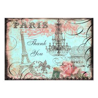 Chic Eiffel Tower Chandelier Thank You Custom Invitations