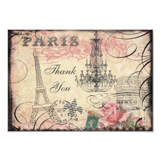 Chic Eiffel Tower & Chandelier Thank You Wedding 3.5x5 Paper Invitation Card