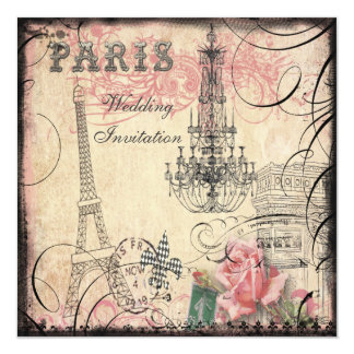 Chic Eiffel Tower & Chandelier Wedding Card