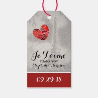 Chic Eiffel Tower Je T'aime Wedding Gift Tags