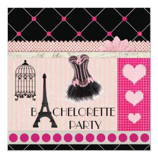 Chic Eiffel Tower Pink Paris Bachelorette Party 5.25x5.25 Square Paper Invitation Card