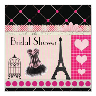 Chic Eiffel Tower Pink Paris Bridal Shower 5.25x5.25 Square Paper Invitation Card