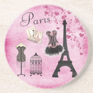 Chic Eiffel Tower Pink Paris Fashion Coaster