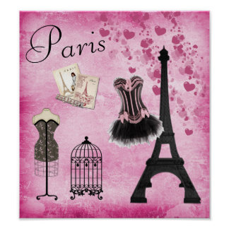 Chic Eiffel Tower Pink Paris Fashion Poster