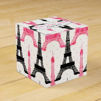 chic Eiffel tower Pink Personalized favor boxes