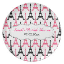 Chic Eiffel tower  Pink  Personalized Plate