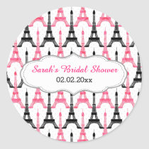 Chic Eiffel tower Pink Personalized stickers