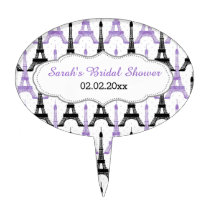 Chic Eiffel tower Purple Personalized Cake Picks