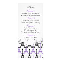 Chic Eiffel tower Purple Personalized Menu cards