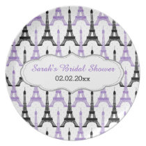 Chic Eiffel tower Purple Personalized Plate