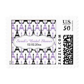 Chic Eiffel tower Purple Personalized Stamps