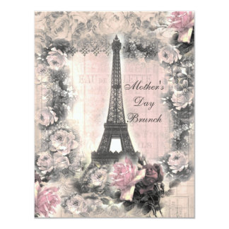 Chic Eiffel Tower & Roses Mother's Day Brunch 4.25x5.5 Paper Invitation Card