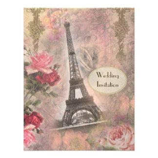 Chic Eiffel Tower & Roses Wedding Invitation