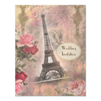 Chic Eiffel Tower & Roses Wedding Invitation