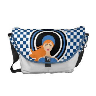 Chic Elegance Blue Checker Monogram Messenger Bag