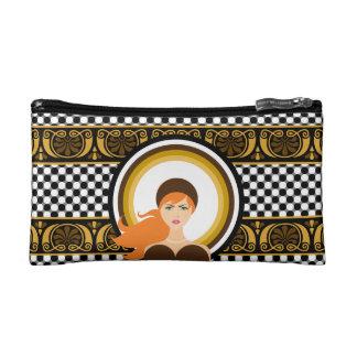 Chic Elegance Gold Stripe Makeup Bag