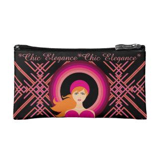 Chic Elegance Pink Pinstripe Ladies Makeup Bag