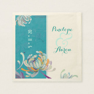 Chic Elegant Asian Mums Teal Wedding Paper Napkins