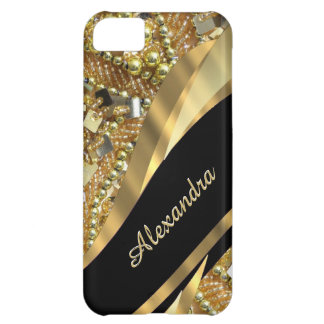 Chic elegant black and gold bling personalized iPhone 5C case