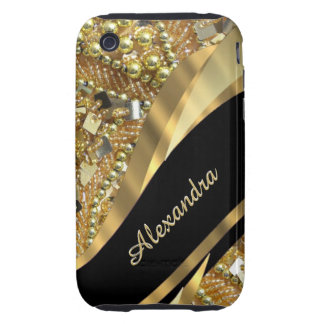 Chic elegant black and gold bling personalized tough iPhone 3 cover