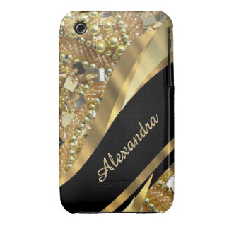 Chic elegant black and gold bling personalized iPhone 3 Case-Mate case