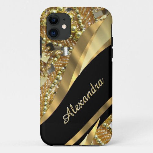 Chic elegant black and gold bling personalized Phone Case