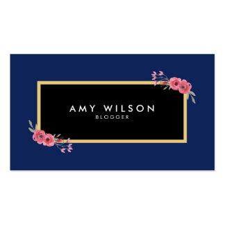 Chic Elegant Blogger Social Media Blue Floral Business Card
