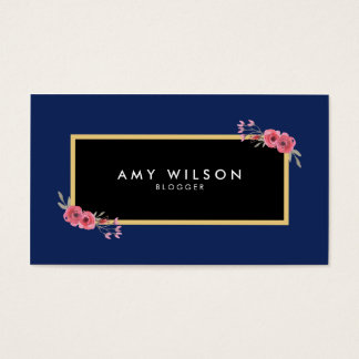 Chic Elegant Blogger Social Media Blue Floral Business Card